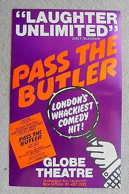 1982 PASS THE BUTLER poster at the GLOBE THEATRE with PETER JONES, WILLY RUSHTON
