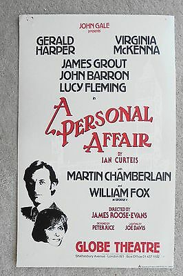 1982 A PERSONAL AFFAIR poster at the GLOBE THEATRE with GERALD HARPER