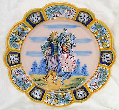 Very Beautiful  Plate Henriot Quimper Marked Hr Quimper