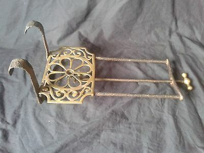 Unusual Antique 19th C Hearth Kettle Pan Stand Rotating Ajustable Trivet Hook-on