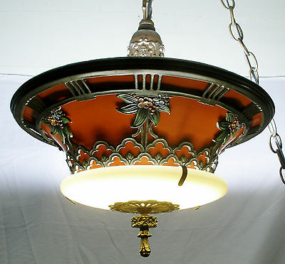 Antique Vintage Pendent Lamp milk glass enamel art deco ambient light