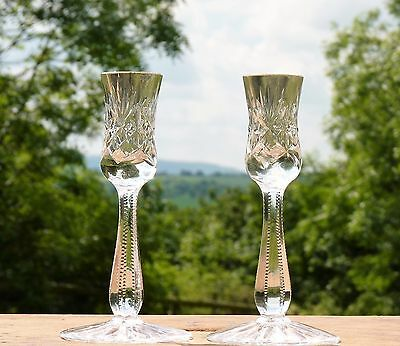 Elegant Vintage Cut Glass Candlesticks * Dining Table * Wedding * Shabby Chic
