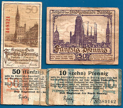 SUPER RARE & HOT WW1 CURRENCY COLLECTION from DANZIG (GERMANY) / GDANSK (POLAND)