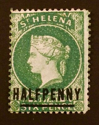 St Helena 1884-1894 SG34a 0.5d on 6d emerald (N-Y spaced) MHNG CatV. £1100