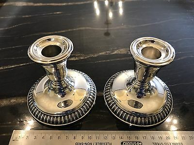 Pair Vintage Birks Regency Silver Plate Low Candlesticks