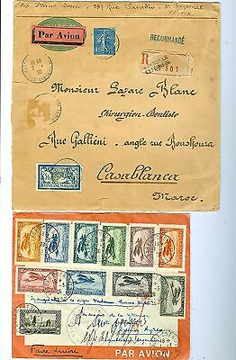 Morocco Covers air Mail, dated on 1928 & 1930.Both Est:$260