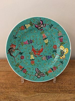 Antique Chinese Famille Rose Verte Millefleur Butterfly Plate Turquoise Orange