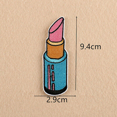 Embroidered Lipstick Patches Sew Iron On Badge Hat Bag Clothes Applique Craft