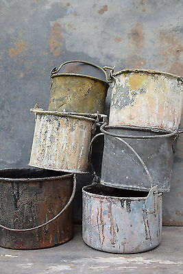 Six Vintage Paint Kettles old metal pots garden planters tools industrial
