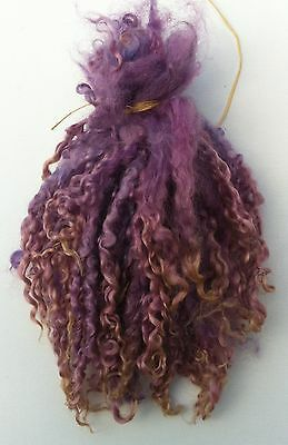 Wensleydale Locks in Purple Shades for Doll making and Spinning 1 oz
