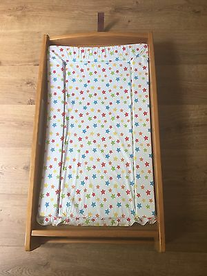 Mamas And Papas Wooden Cot Top Changer with changing mat