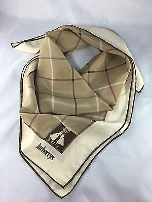 "VTG Burberrys Brown Checkered Silk Square Scarf 29"" Hand Rolled Edges"