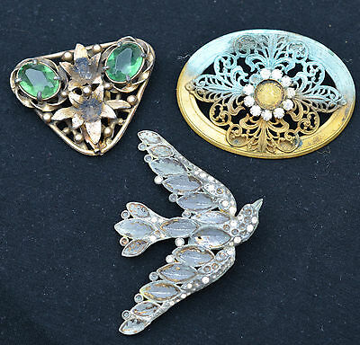 antique vintage costume jewelry lot for repair art deco bird dress clip brooch
