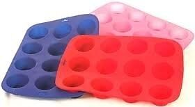 12 Cup Silicon Muffin Tray Cupcake Cake Cases moulds. Assorted colours.