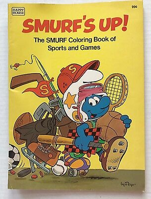 Smurfs Up! Smurf Coloring Book Of Sports & Games 1982 Happy House Unused
