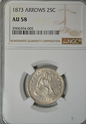 1873 Seated quarter with arrows, NGC AU58
