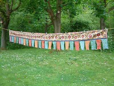 "Antique Very Long (13' 4"") Hand  Embroidered Hanging."