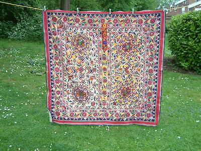 Antique Large 5' x 5' Hand Embroidered Hanging SPECIAL.
