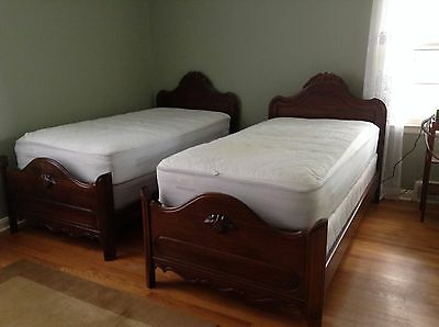 Antique Walnut Twin Bedroom Set with Headboards, Footboards, Rails, 2 Chests