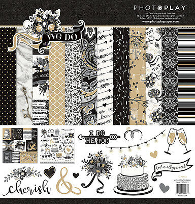 Scrapbooking Crafts PhotoPlay 12X12 Paper Pack We Do Black White Wedding Gold