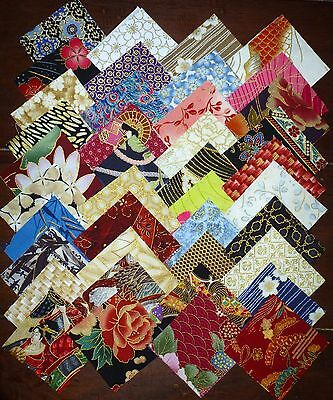 80 Japanese Oriental mixed prints cotton fabric quilting 2.5 inch squares #79