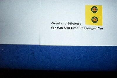 American Flyer Parts - Overland Stickers for #30 - 1 pair