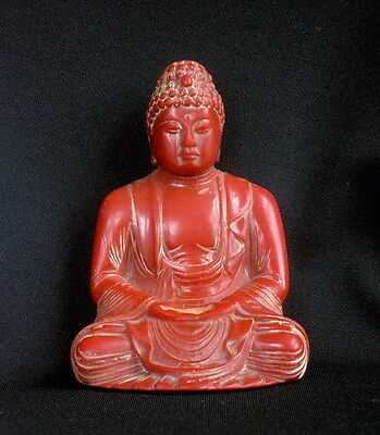 Antique Chinese Red Amber-Color Buddha