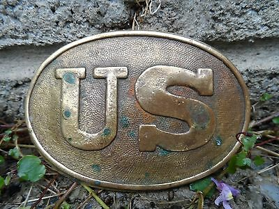 American civil war brass 'US' belt buckle plate - civil war militaria USA
