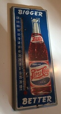 "Vintage Pepsi-Cola Metal ""bigger Better""  Advertising Thermometer 1940's"