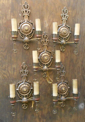 1920's Cast Brass Wall Sconce's set of 5 working / solid brass Nautical theme