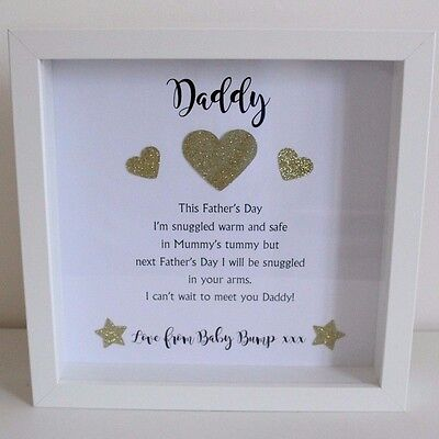 Personalised Love From the baby bump Frame Daddy Grandad 1st Christmas Present