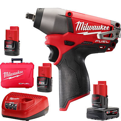 "M12 FUEL 3/8"" Impact Wrench 3 Battery Kit w/1x 6.0ah Milwaukee 2454-22 New"