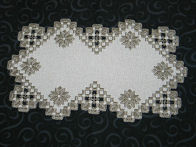 Stunning Antique Norwegian Hand Embroidered Hardanger Lace Table Runner