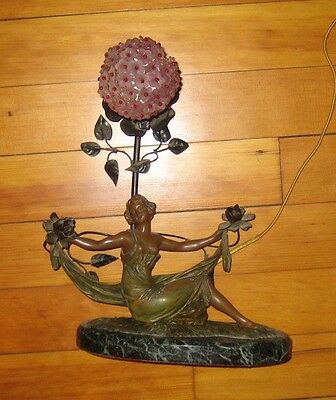 early 1900s Art Nouveau Bronze Lamp signed Paris France with Czech shade