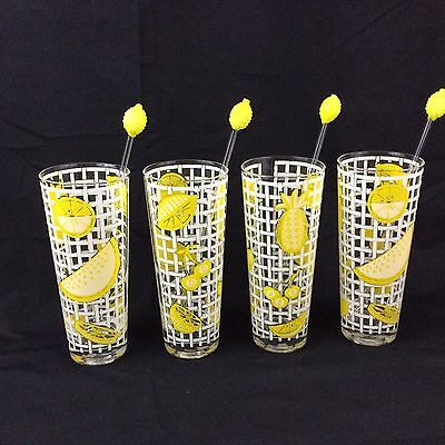 Vtg Culver Ice Tea Lemonade Glass With Stirrer Set of 4 Yellow Lemons Never Used