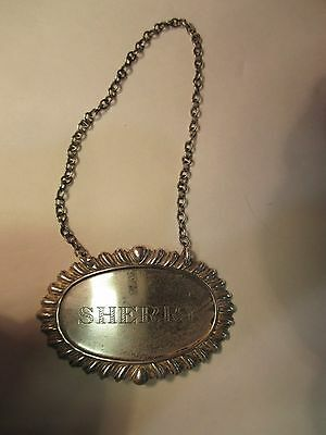 Sterling Silver 'sherry' Liquor Tag