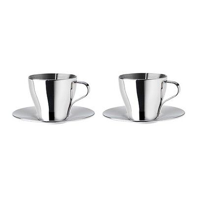 New Kalaset Espresso Cup And Saucer, Stainless Steel, 2 Oz