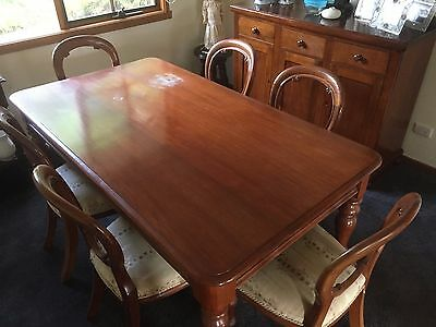 Antique balloon back chairs (six) and dining table