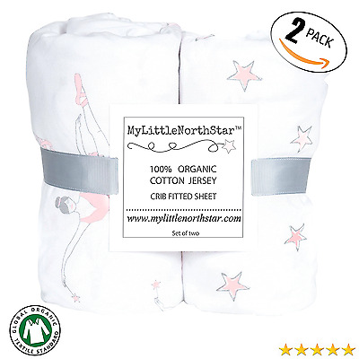 100% Organic Jersey Cotton Fitted Crib Sheets Pink for Girl - 2 pack - GOTS cer