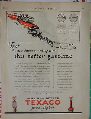 Vintage 1927 magazine ad for Texaco - Better gasoline, Texaco dry gas vaporized