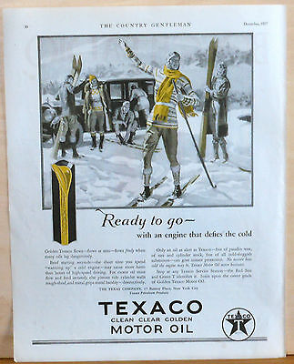 Vintage 1927 magazine ad for Texaco - Skiers and engine Ready to Go in Cold!