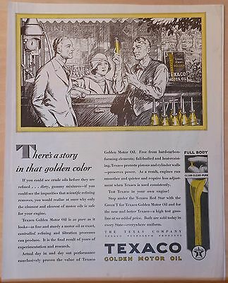 Vintage 1929 magazine ad for Texaco Golden Motor Oil - Story in Golden color