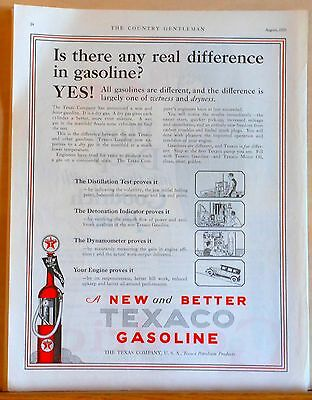 1926 magazine ad for Texaco Gasoline - old fashioned pump, difference in Texaco