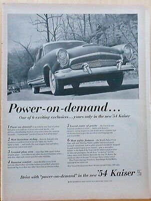 1954 magazine ad for Kaiser autos, Power on Demand in '54 Kaiser, six exclusives