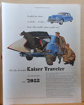1949 magazine ad for Kaiser Frazer autos - Traveler, baby bear climbs in hatch