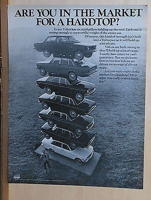 1971 magazine ad Volvo - Tower of Volvos, roof held up by six steel pillars