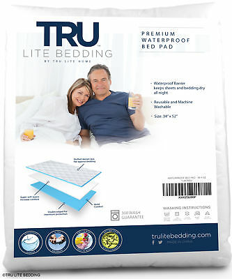 """NEW TRU Lite Waterproof Bed Wetting Pad, 34"""" x 52"""", washable, for incontinence"""