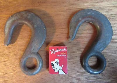 2 X HEAVY CABLE HOOKS for LIFTING / DRAG CHAIN / WIRE / ROPE - INDUSTRIAL
