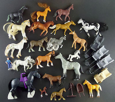 """Horse Toys 27 Pc Lot w/ Wagons & Accessories Brushable Breyer Schleich 1"""" - 5"""""""