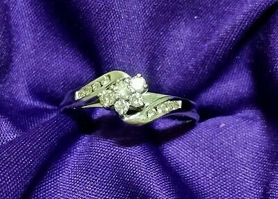 Genuine cluster 9ct  white gold diamond ring size P